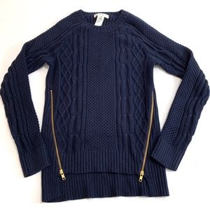 CAbi #899 Navy Double Zip Pullover Sweater Cable